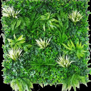 White Grassy Greenery Vertical Garden | Green Wall UV Resistant | 100cm x 100cm