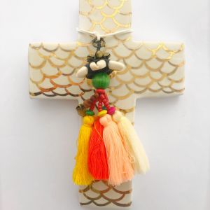 White Mermaid Cross with Gold Luster Detail