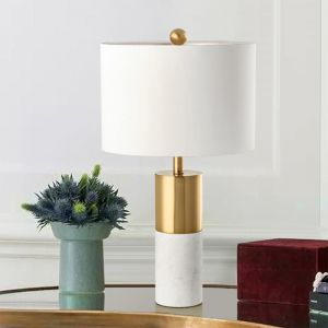White Table Lamp with Gold Plated Body   60cm