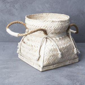 Whitewash Bamboo Basket with Rope handles