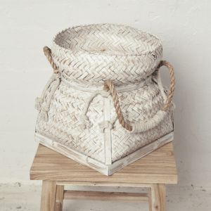 Whitewash Bamboo Basket with Rope handles l Pre Order