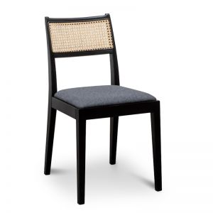 Wilkin Dining Chair | Black with Grey Seat