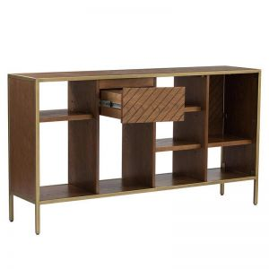 Willingham Low Bookcase | Brass & Wood