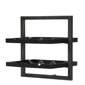 WINERACK | Style B | Teak Black Stain & Smoked Iron | by dBodhi