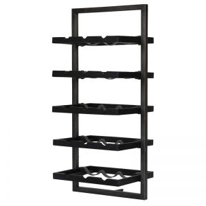 WINERACK | Style E | Teak Black Stain & Smoked Iron | by dBodhi