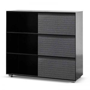 Winford Inter-layered Black Storage Cabinet - Grey Doors