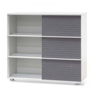 Winford Inter-layered White Storage Cabinet - Grey Doors