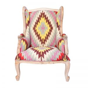 Wing Back Armchair | Whitewash and Mexican Diamond Print