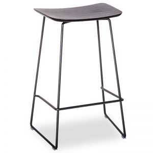 Winnie Stool - Black Frame With Black Stained Solid European Oak Seat