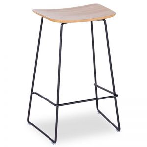 Winnie Stool - Black Frame With Solid European Oak Seat