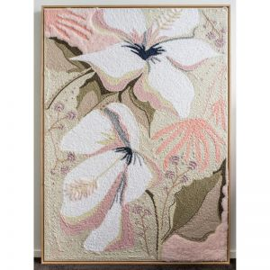 Wish You Were Here | Original Textile Artwork | Framed in Oak