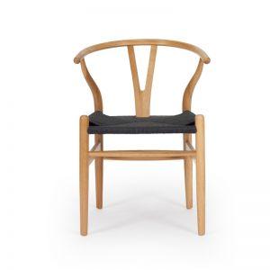 Wishbone Designer Chair   Natural Oak with Black Cord