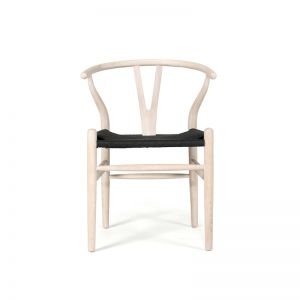 Wishbone Designer Replica Chair   White Coastal Oak with Black Cord