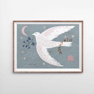 Wishing Bird   Blue   Art Print   Various Sizes