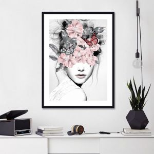 Woman With Flowers by Dada22 | Unframed Art Print