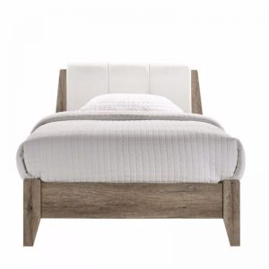Wooden Bed Frame with Leather Upholstered Bed Head | All Sizes