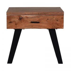 Wooden Bedside Table Side   Natural & Black   1 Drawer