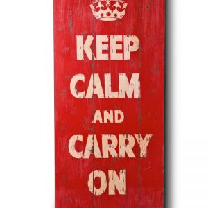 Wooden Print In Antique Red Keep Calm | Modern Furniture