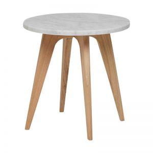 Woodrow Marble Side Table Round | White | Fenton and Fenton