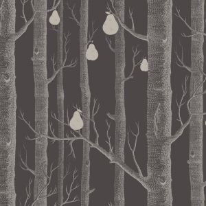 Woods & Pears Wallpaper Gilver & Charcoal
