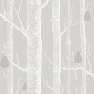 Woods & Pears wallpaper |  Grey, White & Silver