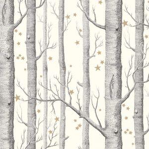 Woods & Stars Wallpaper - Black on White & Gold Stars