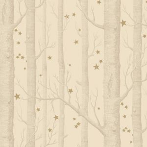 Woods & Stars Wallpaper - Buff & Gold
