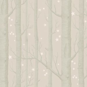Woods & Stars Wallpaper - Metallic Trees on Grey