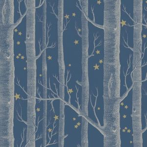 Woods & Stars Wallpaper - Midnight Blue