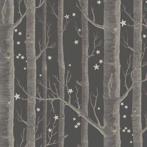 Woods & Stars Wallpaper - White on Black & Gold Stars