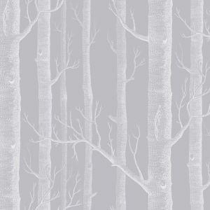 Woods Wallpaper - Grey & White