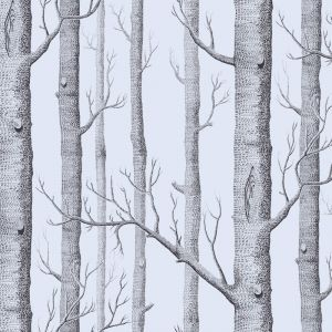 Woods Wallpaper - Metallic Silver & Black