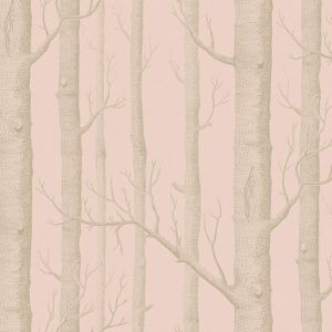 Woods Wallpaper - Pink & Gold