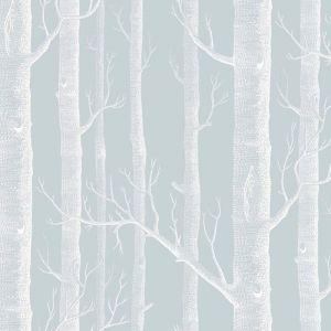 Woods Wallpaper - Powder Blue & White