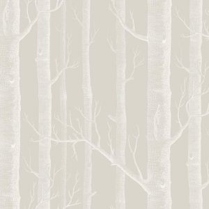 Woods Wallpaper - Stone & White