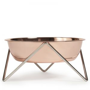 Woof | Dog Stand and Bowl | Copper on Chrome