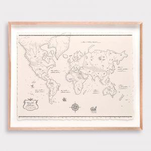 World Map Atlas Illustration | Unframed Print by Adrianne Design