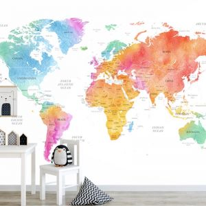 World Map | Colour | Full Wall Mural