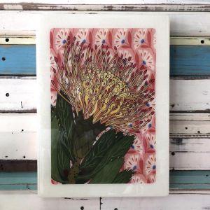 XL Woodblock | Pin Cushion Protea | Wall Hanging