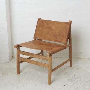Zadie Tan Leather and Teak Chair l Custom Made