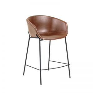 Zadine Barstool Rust Brown Synthetic Leather