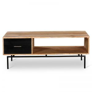Zayden Coffee Table 1.2M | Natural/Black Solid Wood | Modern Furniture