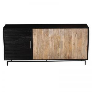 Zayden Sideboard 1.8M | Walnut-Black Solid Wood | Modern Furniture