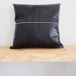 Zipped Black Leather | Cushion Cover by Brodie & Co