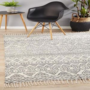 Zulma Cotton Rug | Ivory and Charcoal