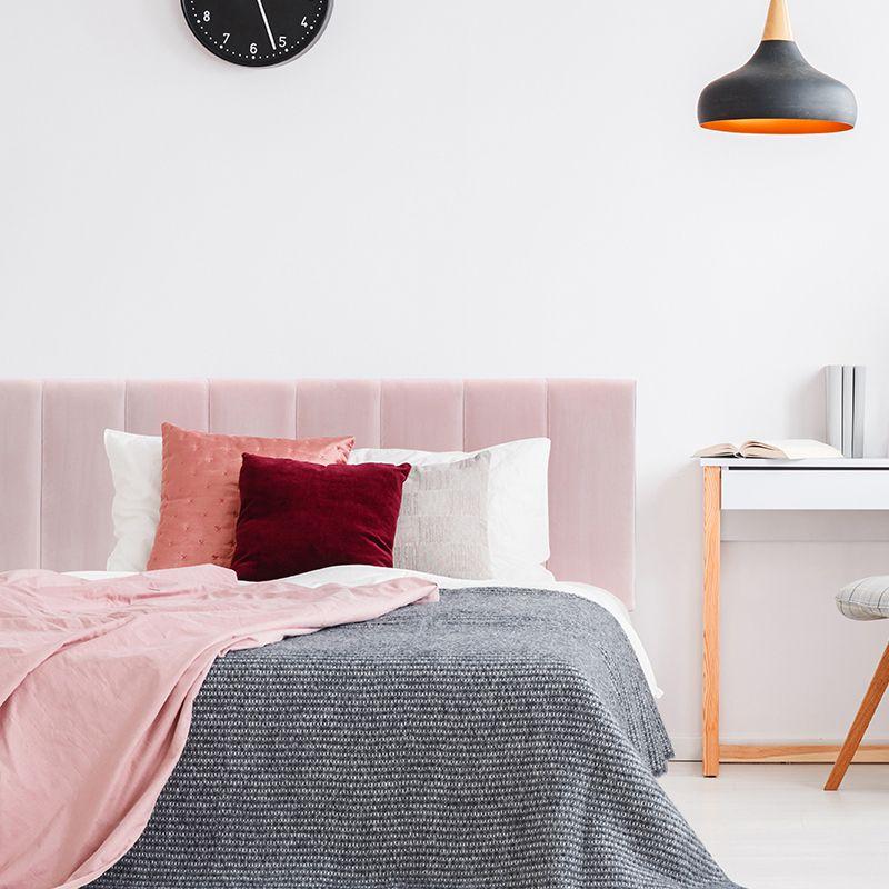 Blush Pink Velvet Panelled Upholstered, Pink Upholstered Bed Frame Australia