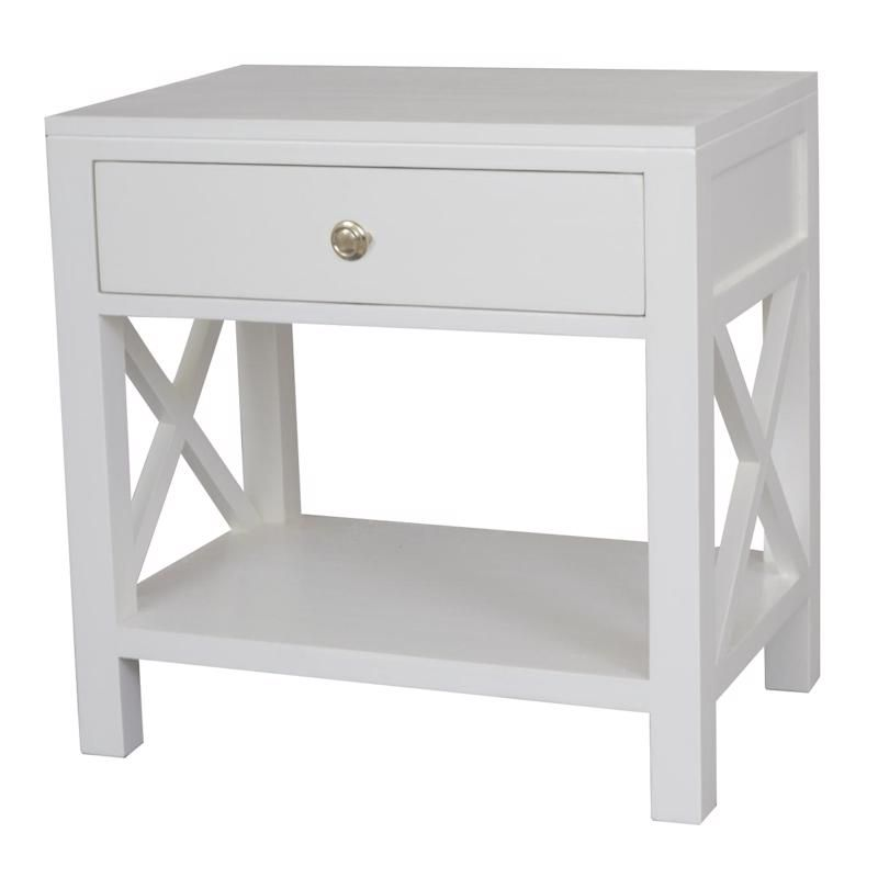 Catalina Crossed White Bedside Side Table