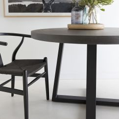 1.6m Alta Round ElkStone Dining Table | Black| PREORDER