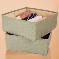 2 Pack Clothes Storage Boxes in Sage Green | Large Size