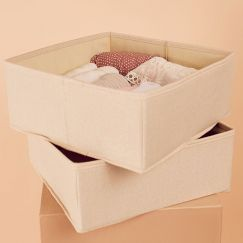 2 Pack Clothes Storage Boxes in Vanilla Linen | Large Size